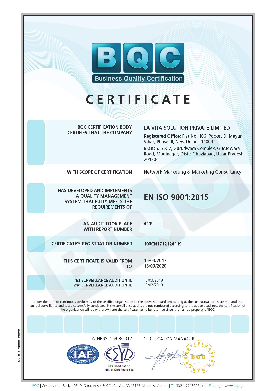 La Vita Iso Certificate Page